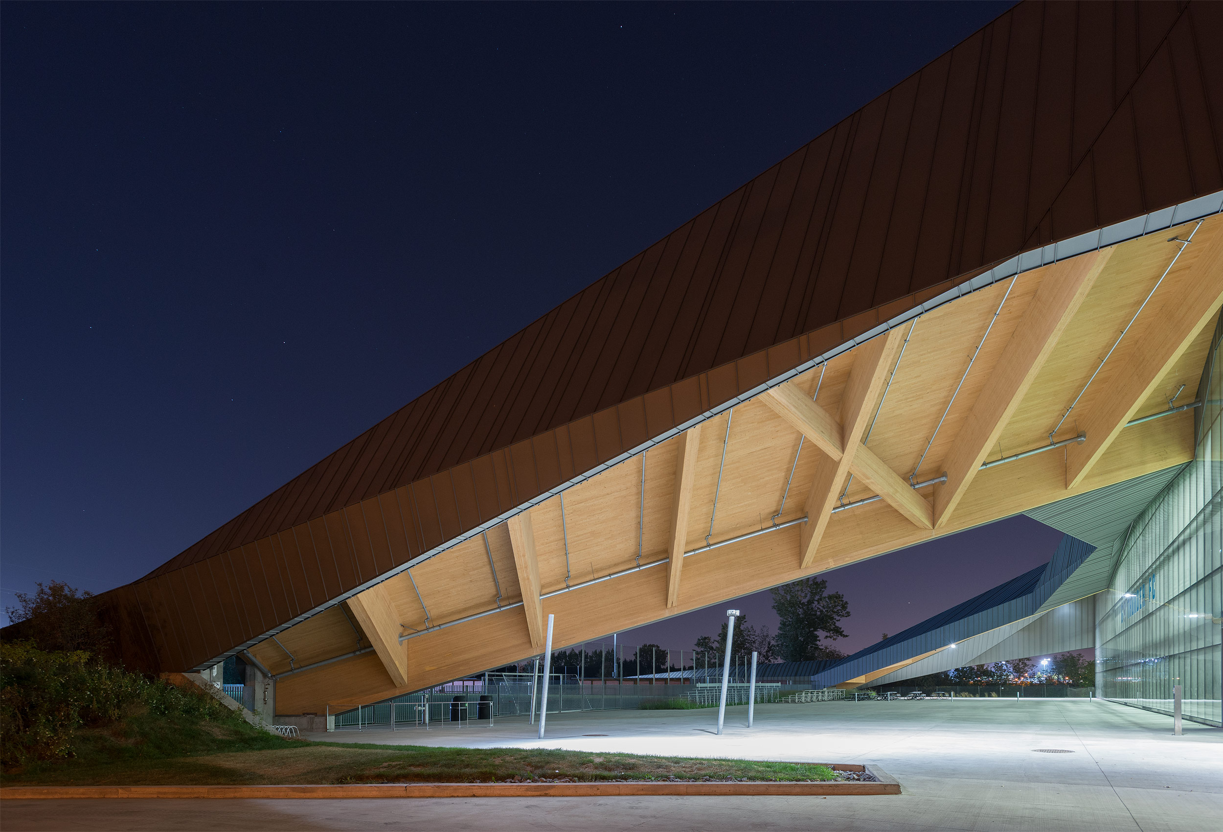 Montreal Stadium at night  by architectural photographer Kristopher Grunert