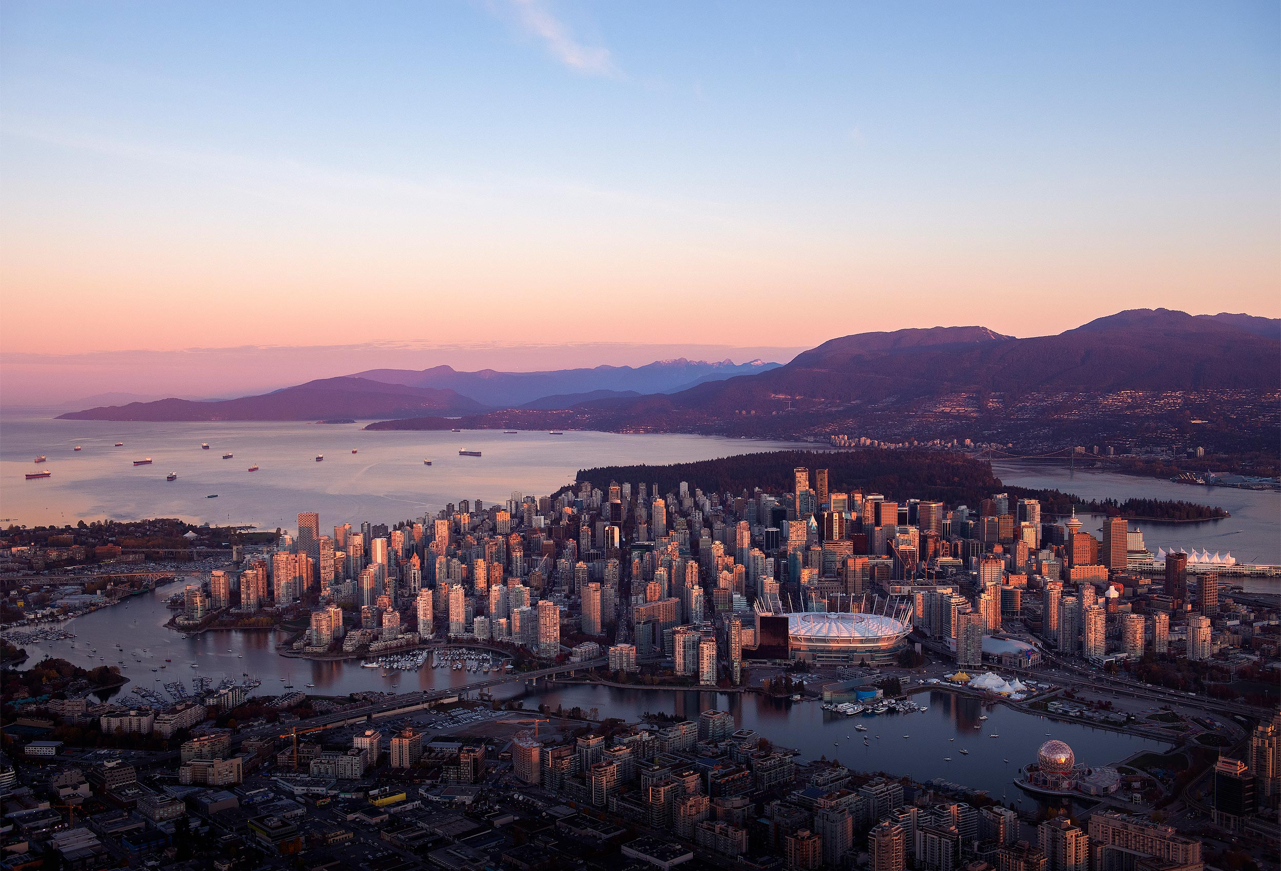 Aerial photograph of Vancouver at dawn by aerial photographer Kristopher Grunert