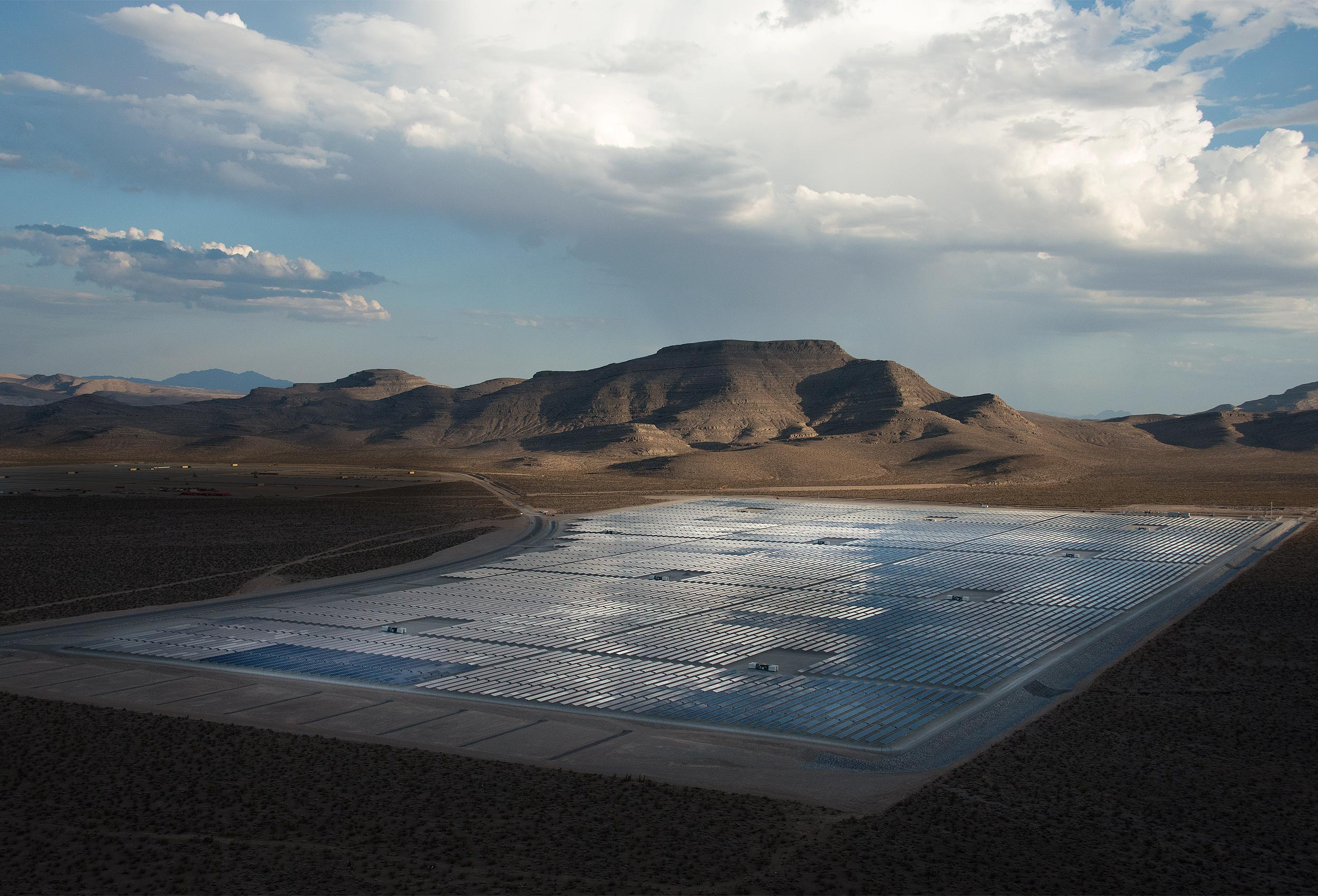 Aerial of solar farm by corporate industrial photographer Kristopher Grunert