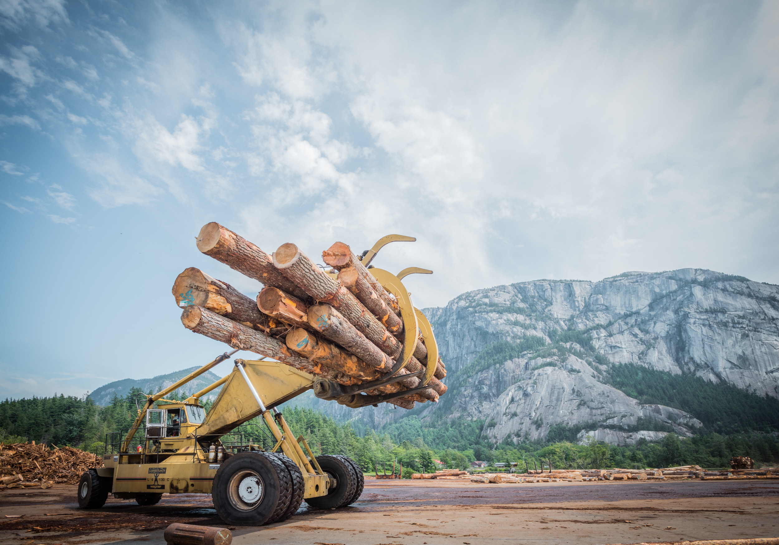 Large lift at log sorting facility in Squamish, BC by corporate  industrial photographer Kristopher Grunert.