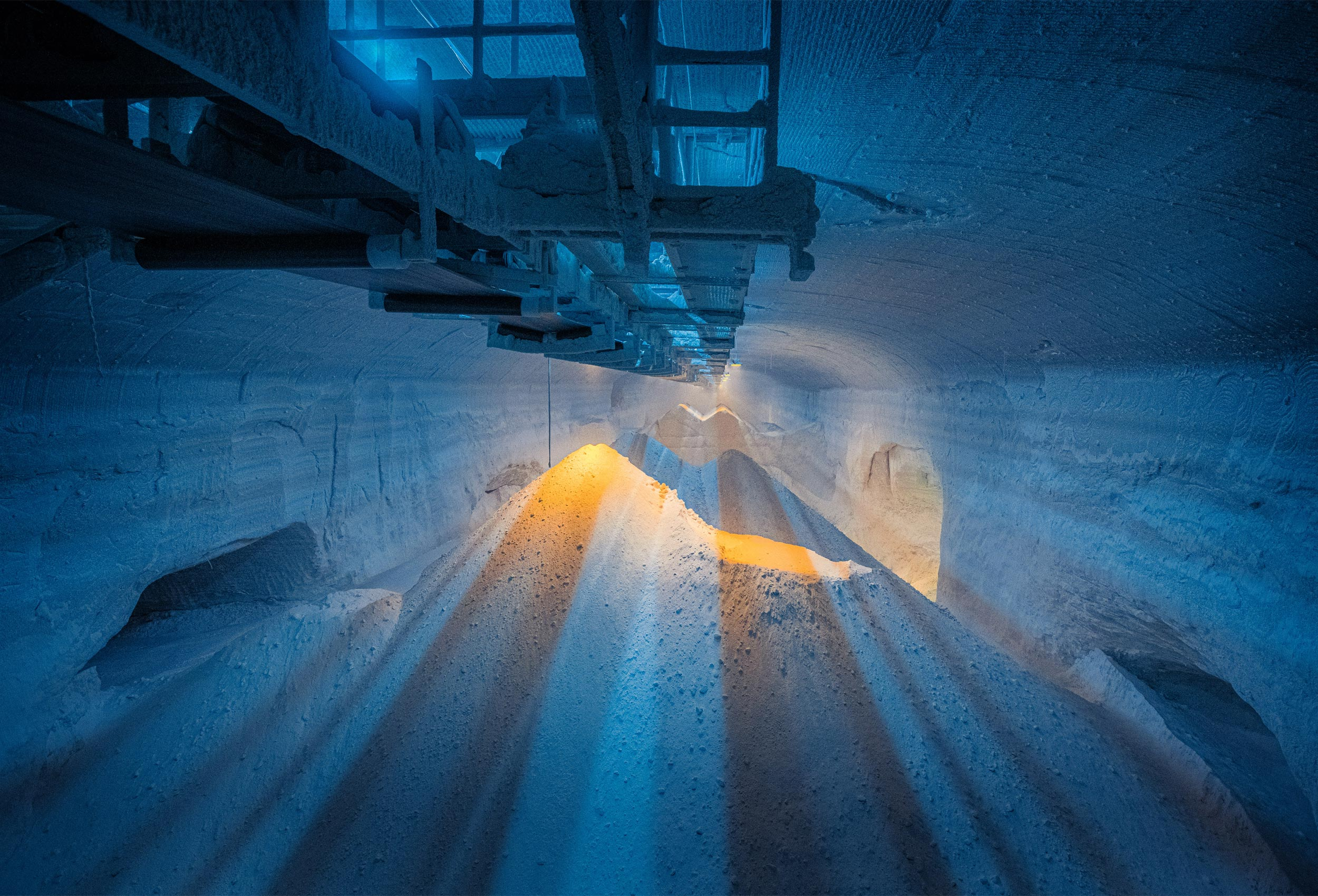 Underground potash storage cavern in Germany by corporate industrial photographer Kristopher Grunert.