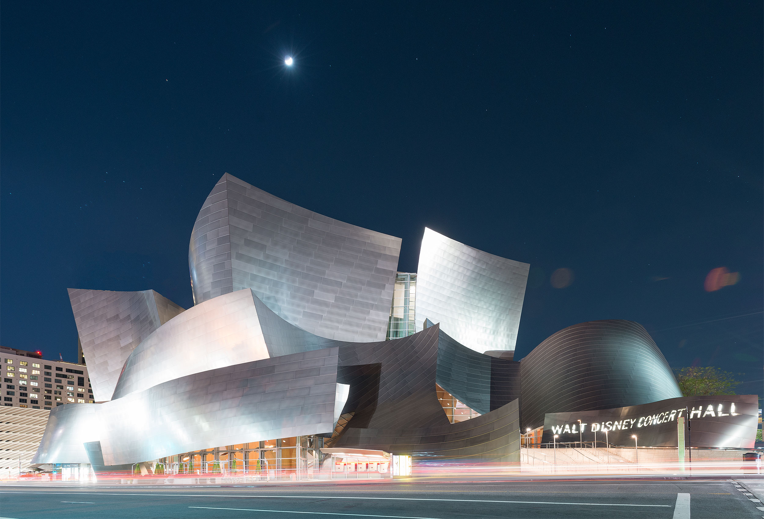 Disney Concert Hall at night by architectural photographer Kristopher Grunert